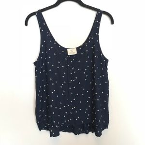 Urban Outfitters | Blue Heart Print Button Tank